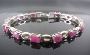 Silver bracelet with Ruby