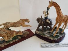 Juliana Collection Large Giraffe and Elephant and model of Cheetahs