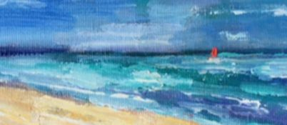 Red Sail Coastal Scene, Signed Oil on Canvas Board. Indistinctly signed.