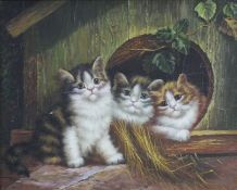 Small Oil Painting of Kittens Signed Set in Frame