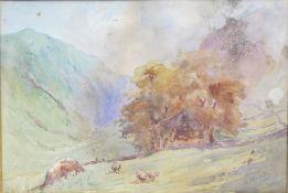 Victorian Cattle Grazing Landscape Watercolour S.Austin