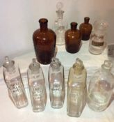 Antique Finest Collection Pharmacy Bottles and glass stoppers boots and others