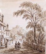Sepia Watercolour Corfe Castle by Cecilia Montgomery (1792-1879)