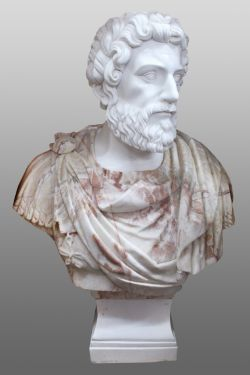Carved White & Rouge Marble Bust of Marcus Aurelius