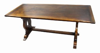 Heavy Oak Refectory Table & 8 Carved Oak Dining Chairs