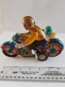 Vintage Tin Plate Wind Up Motorbike and Sidecar