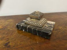 Edwardian paperweight silver plated on marble base