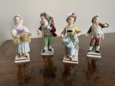 Set of four miniature porcelain figures by sitzendorf