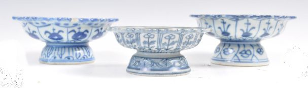 Group of three 18th/19th Chinese bencharong footed dishes