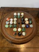C19th solitaire board with glass marbles