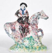 C19th Yorkshire spongeware flatback equestrian figure