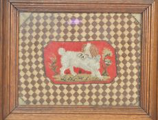 C19th tapestry of dog in small oak frame