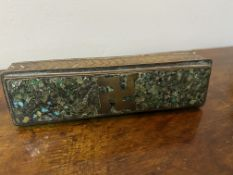 C19th Indian malachite and brass toothpick