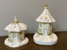 Two C19th pastille burners shaped as cottages