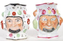 Two prattware satyr mask jugs