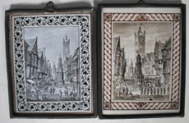 C18th pair of paintings on glass