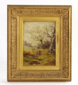 Oil on Canvas gleaners in a wooded landscape
