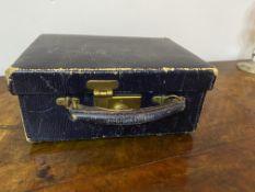 Edwardian blue leather vanity case