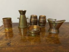 Rare group of brass and copper miniature sales samples