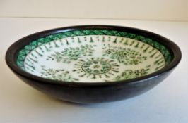 Vintage Pewter Clad Japanese Porcelain Bowl