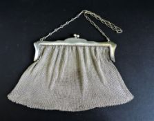 Antique Edwardian Silver Plate Mesh Evening Bag