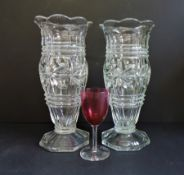 Matching Pair of Art Deco Glass Vases 25cm Tall