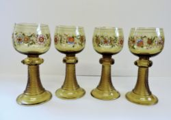Set of 4 Antique Bohemian Fritz Herkert Roemer Hock Glasses