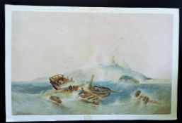 E Ravenscroft Original Watercolour of a Shipwreck