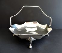 Vintage Art Deco Silver Basket for Cake/Croissants/Bread