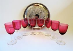 Antique Set of 8 Victorian Cranberry Wine Glasses on Silver Tray