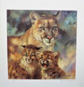 Signed Limited Edition 'Cougar Cats & Cubs' By Donald Grant