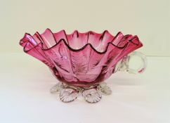 Antique Cranberry Glass Sugar/Sweets/Nuts Bowl
