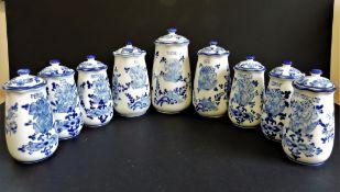 Hand Made Delfts Pottery Coffee, Sugar & Herbs Storage Jars