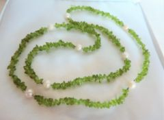 Green Crystal Quartz & Cultured Pearl Necklace
