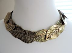 Vintage Designer Gold Laurel Leaf Necklace