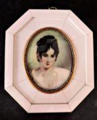 Hand Painted Miniature Portrait of Aristocratic Beauty