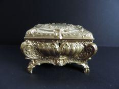 Antique Gold Metal Jewellery Casket