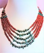 Coral and Green Zoisite Necklace