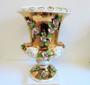 Large Italian Porcelain Campana Urn/Planter/Jardiniere 16 inches Tall