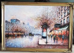 "Parisian Landscape Oil on Canvas Signed P. Sanchez Large 40"" wide"