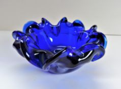 Murano Cobalt Blue Biomorphic Art Glass Bowl