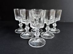 Set of 6 Val Saint Lambert Crystal Sherry/Aperitif Glasses