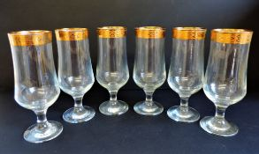 Vintage Venetian gold rimmed tall glasses for cocktails/sprintzers etc
