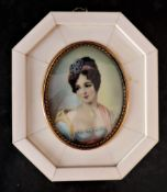Hand Painted Miniature Portrait of Aristrocratic Society Beauty