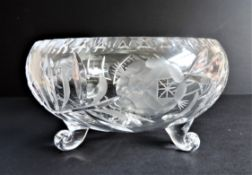 Large Vintage Bohemian Crystal Bowl 23cm Wide