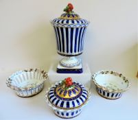 Four Piece Garniture of Sevres Style Porcelain