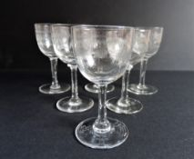 6 Edwardian Etched Greek Key Sherry/Port Glasses
