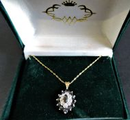 9ct Gold Sapphire & Diamond Pendant Necklace