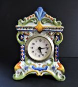 Vintage French Faience Hand Painted Clock