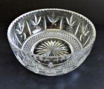 Large Antique Edwardian Engraved Crystal Bowl